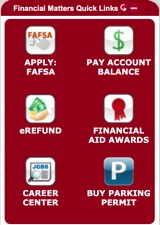 Financial Matters Quick Links panel from the myNorthridge Portal.